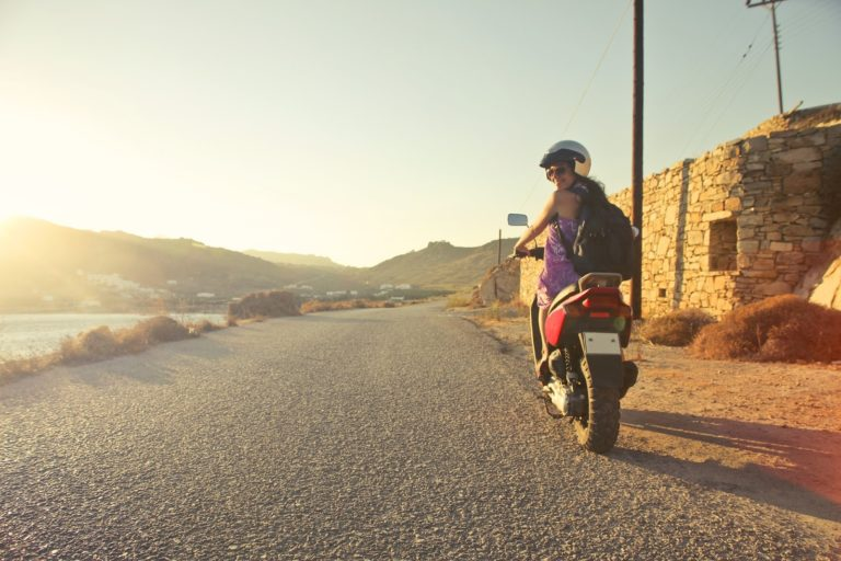 motorcycle rider in sunset