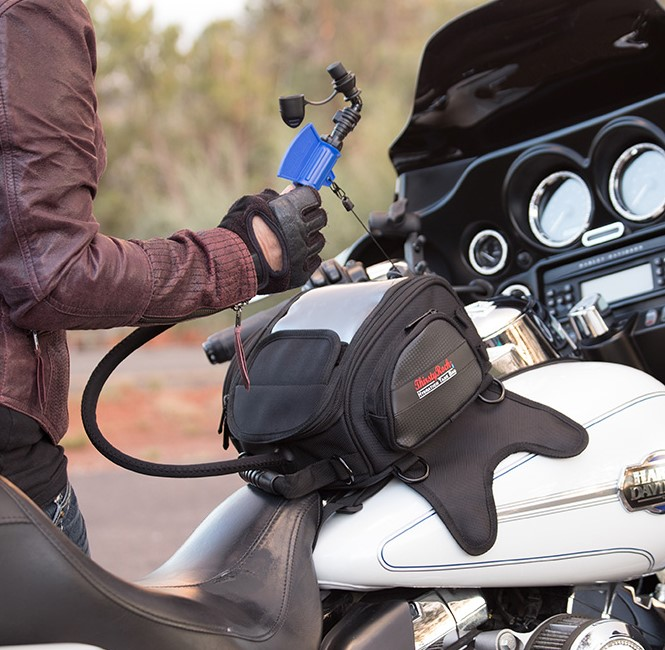 motorcycle rider with Original Hydration Tank Bag