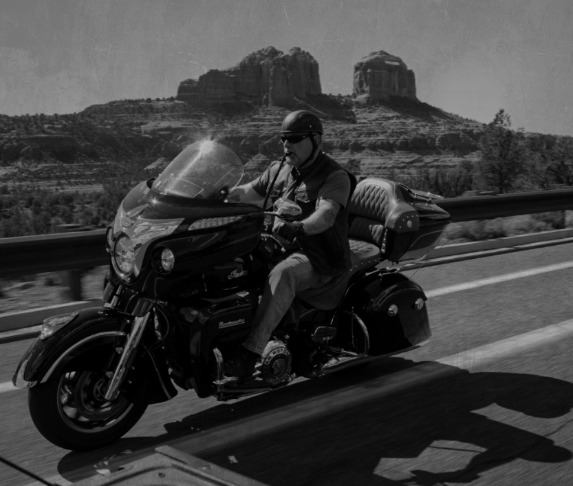 motorcyclist riding with ThirstyRock