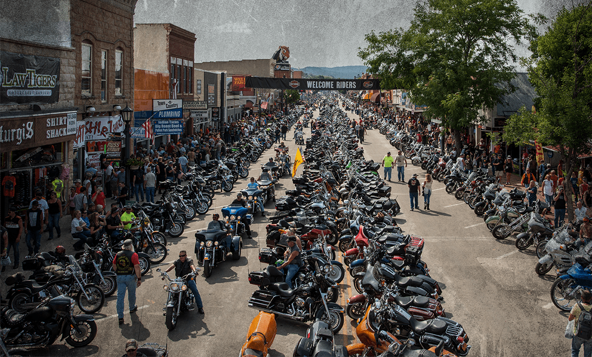motorcyclists gathered at rally